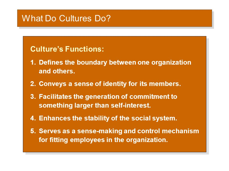 What Do Cultures Do Culture as a Liability: Barrier to change