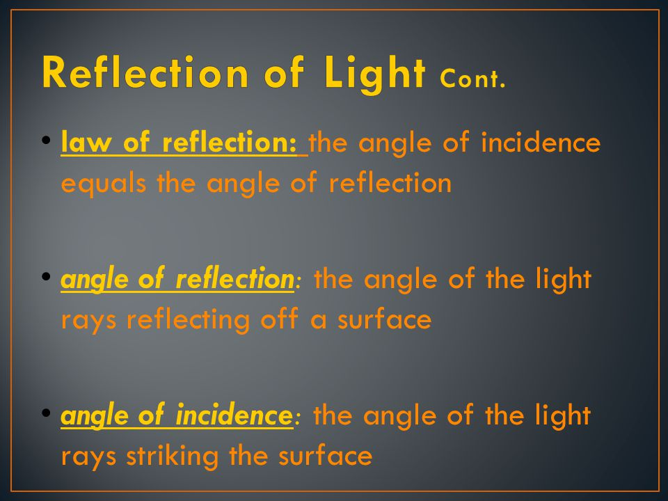 Reflection of Light Cont.