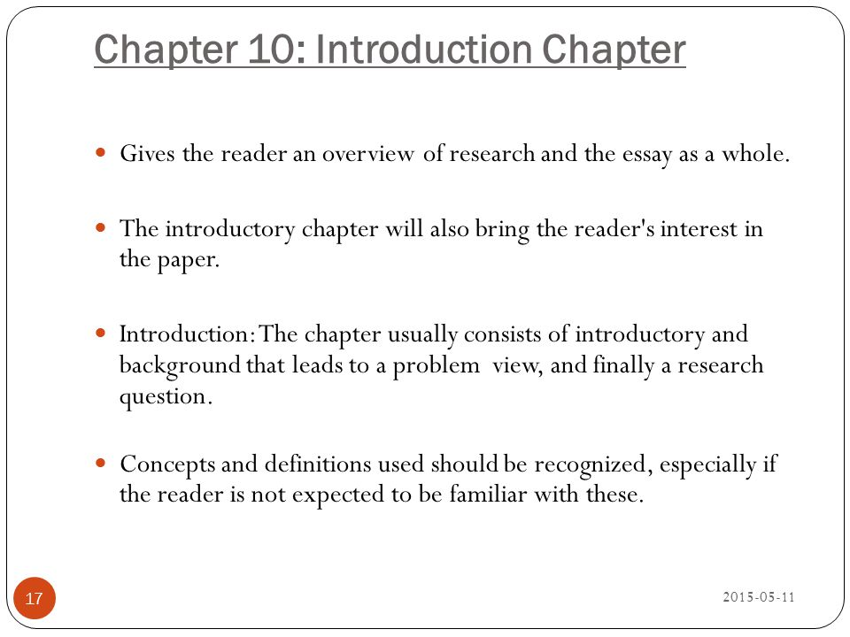 Chapter 10: Introduction Chapter