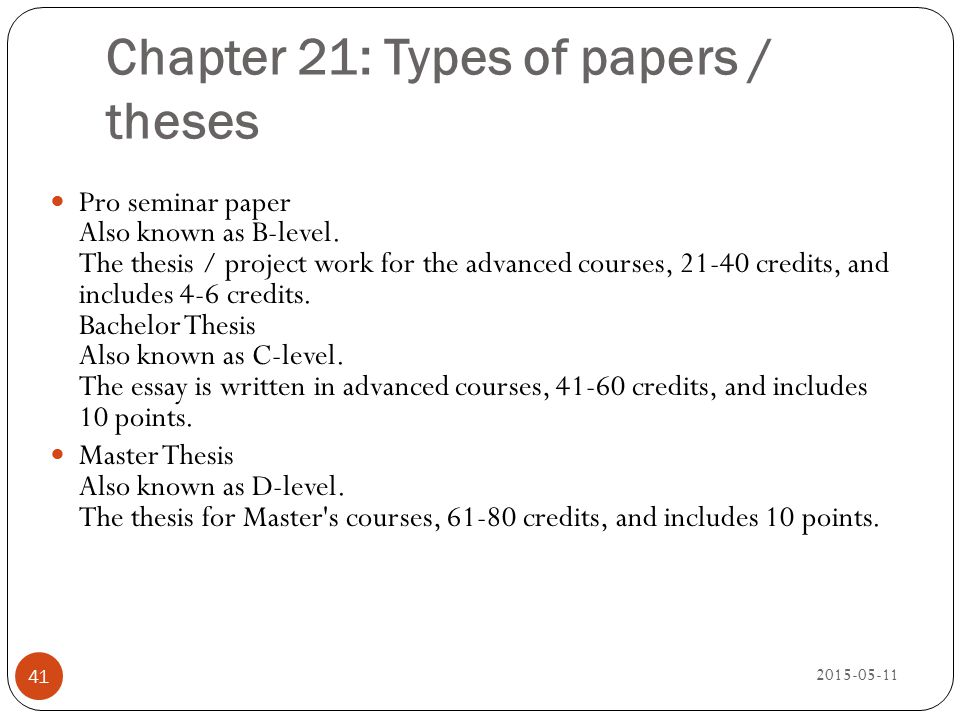 Chapter 21: Types of papers / theses