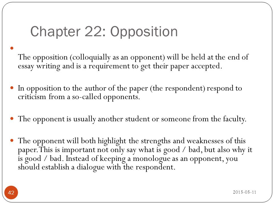 Chapter 22: Opposition