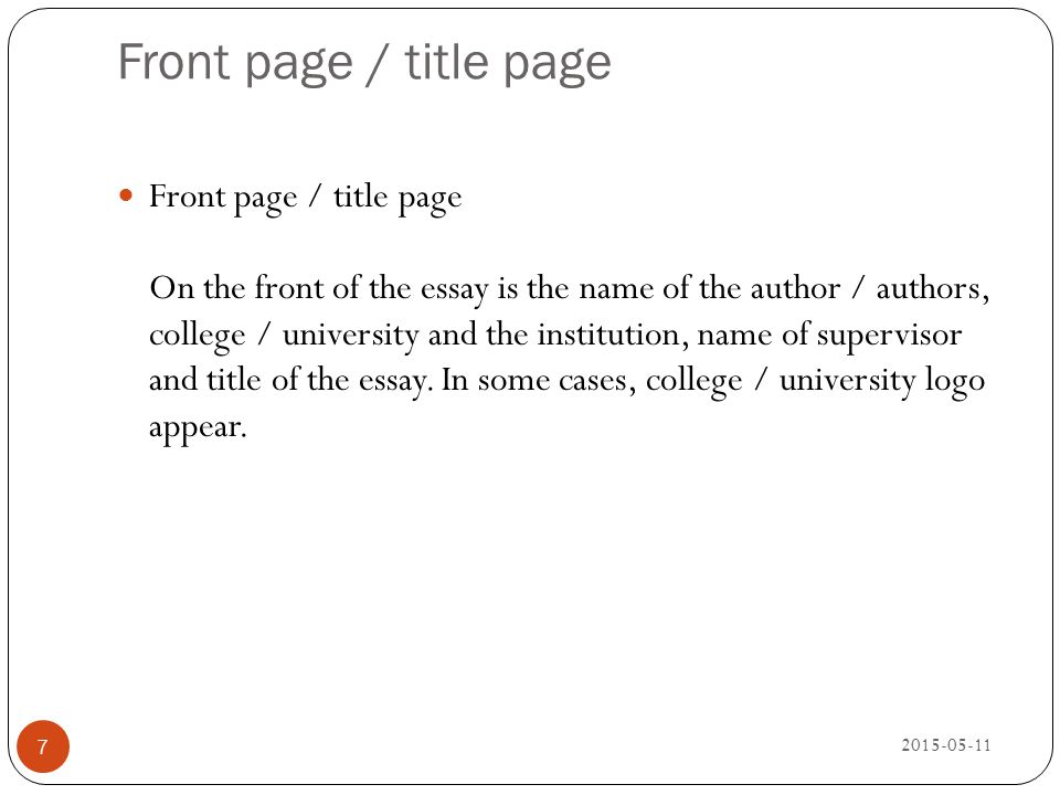 Front page / title page