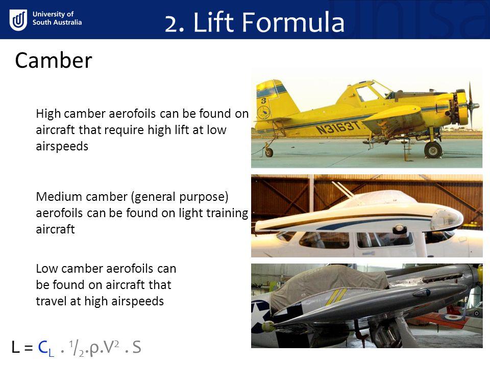 2. Lift Formula Camber L = CL . 1/2.ρ.V2 . S