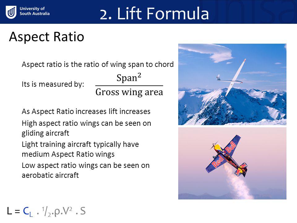 2. Lift Formula Aspect Ratio L = CL . 1/2.ρ.V2 . S