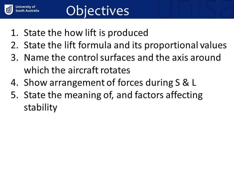 Objectives State the how lift is produced