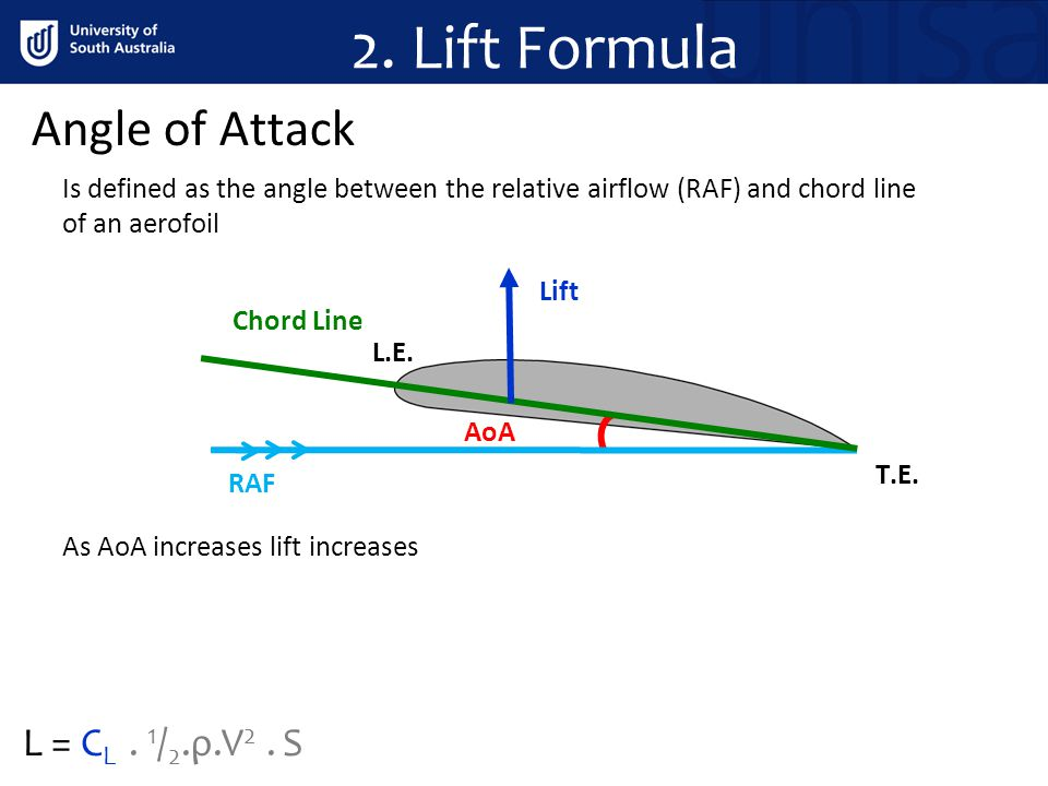2. Lift Formula Angle of Attack L = CL . 1/2.ρ.V2 . S