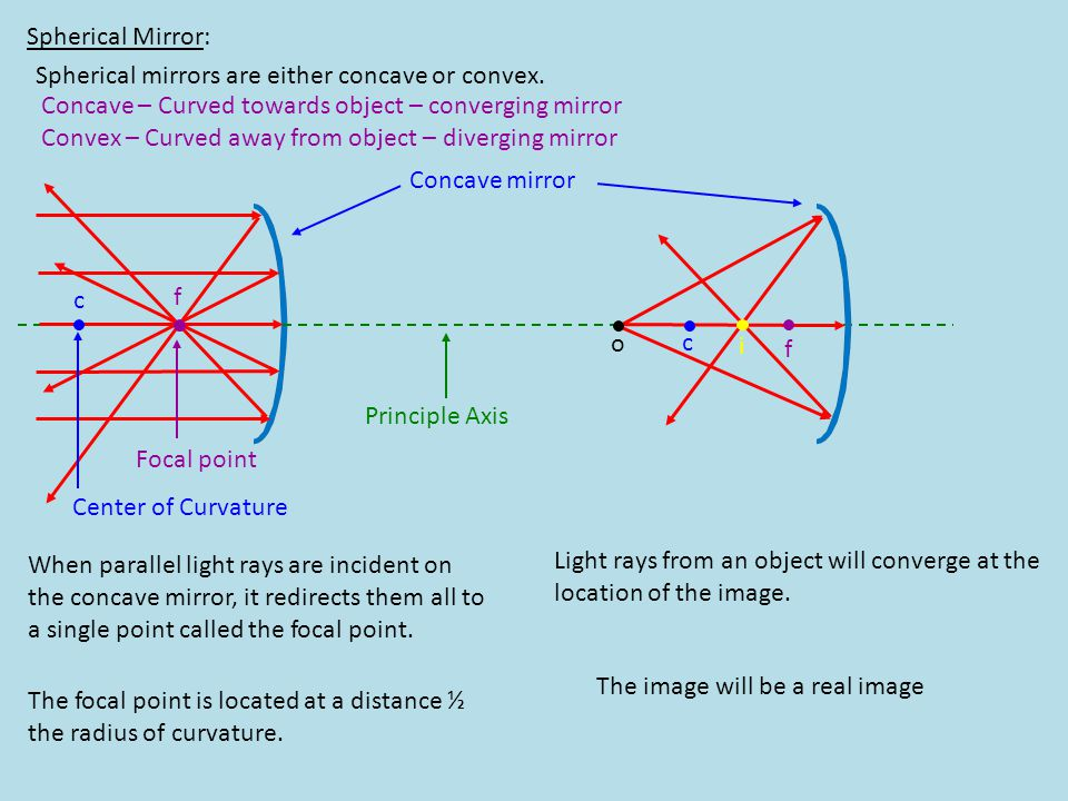 Spherical Mirror: Spherical mirrors are either concave or convex. Concave – Curved towards object – converging mirror.