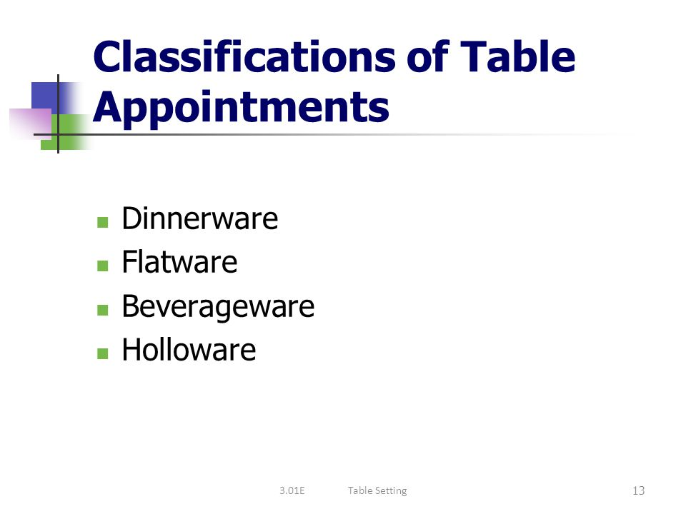 Classifications of Table Appointments