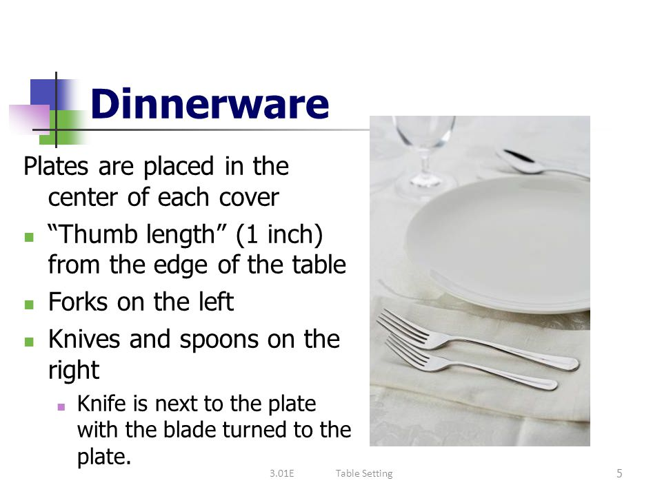 Dinnerware Plates are placed in the center of each cover