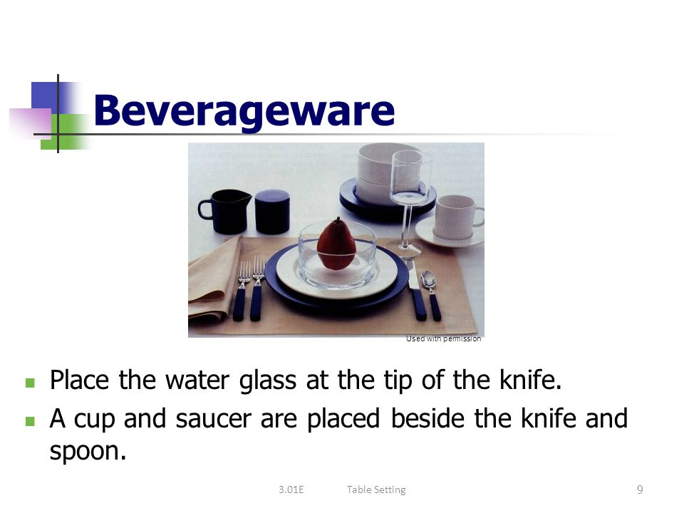 Beverageware Place the water glass at the tip of the knife.