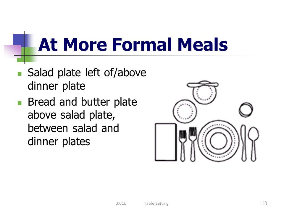At More Formal Meals Salad plate left of/above dinner plate