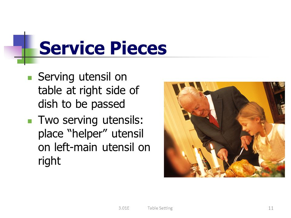 Service Pieces Serving utensil on table at right side of dish to be passed.