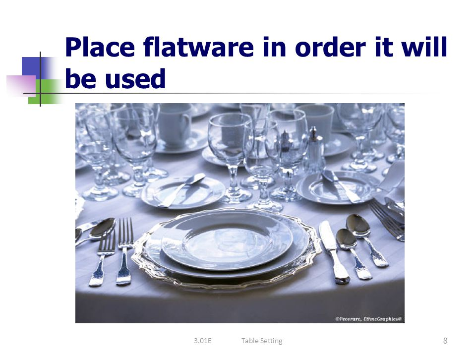 Place flatware in order it will be used