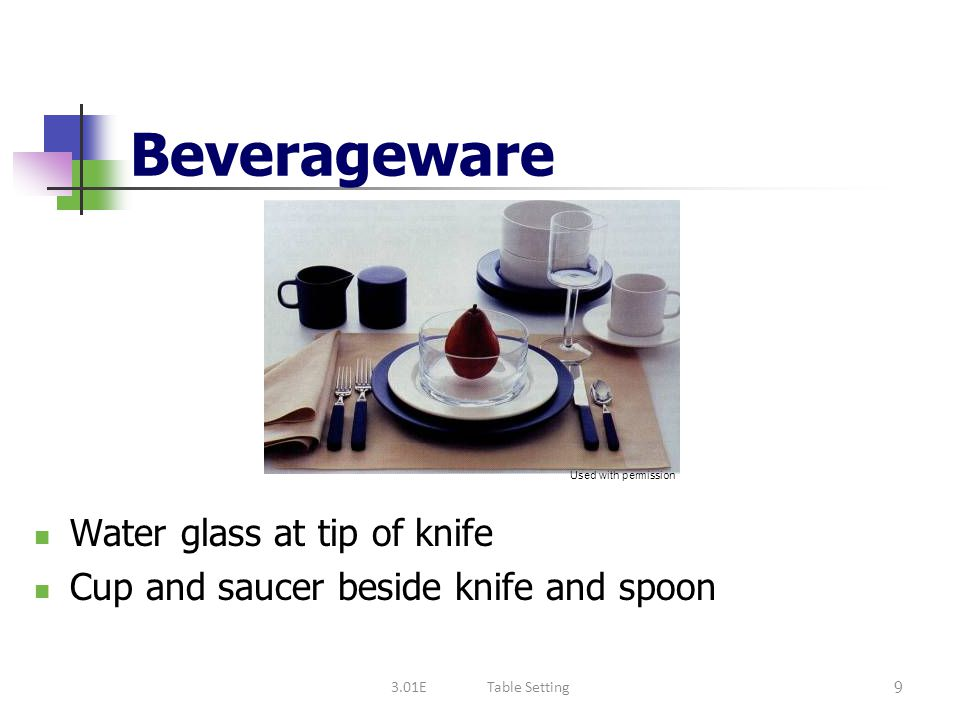 Beverageware Water glass at tip of knife