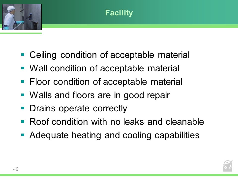 Ceiling condition of acceptable material