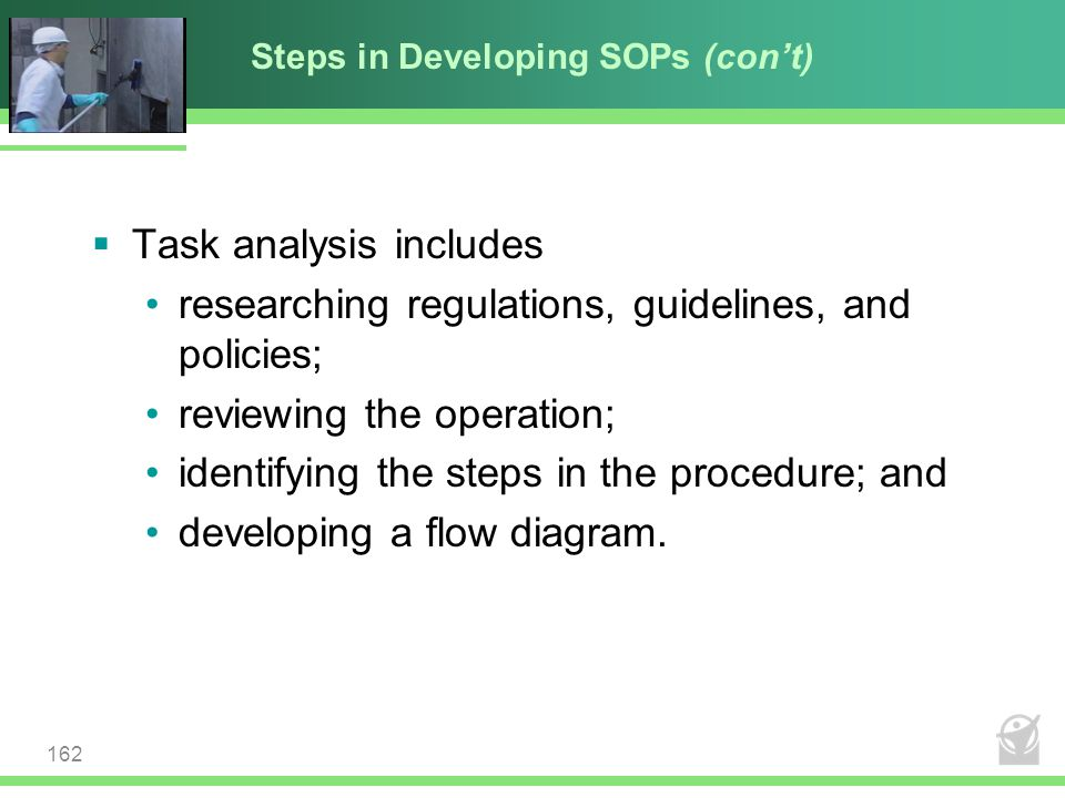 Steps in Developing SOPs (con't)
