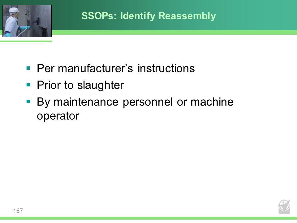 SSOPs: Identify Reassembly