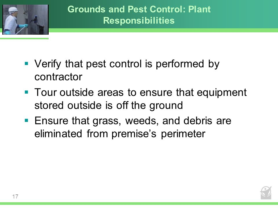 Grounds and Pest Control: Plant Responsibilities