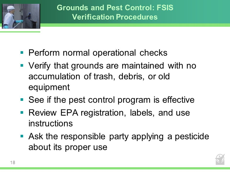Grounds and Pest Control: FSIS Verification Procedures