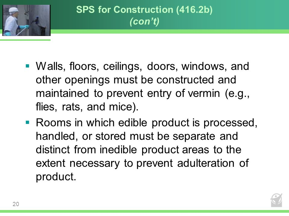 SPS for Construction (416.2b) (con't)