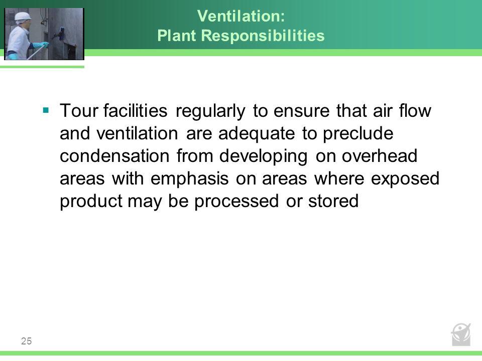 Ventilation: Plant Responsibilities