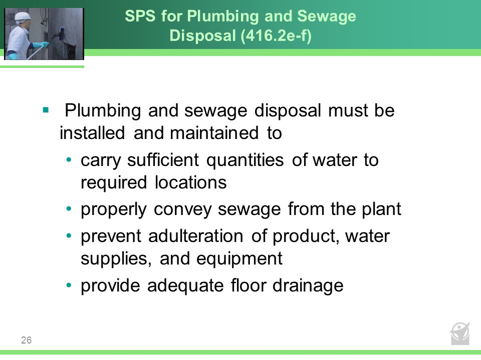 SPS for Plumbing and Sewage Disposal (416.2e-f)