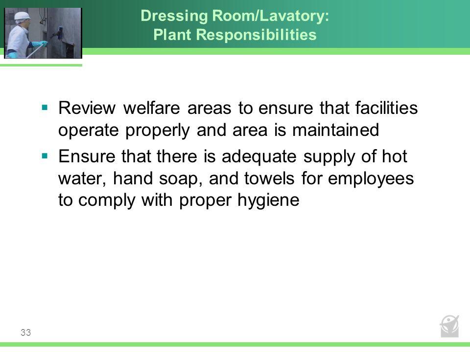 Dressing Room/Lavatory: Plant Responsibilities