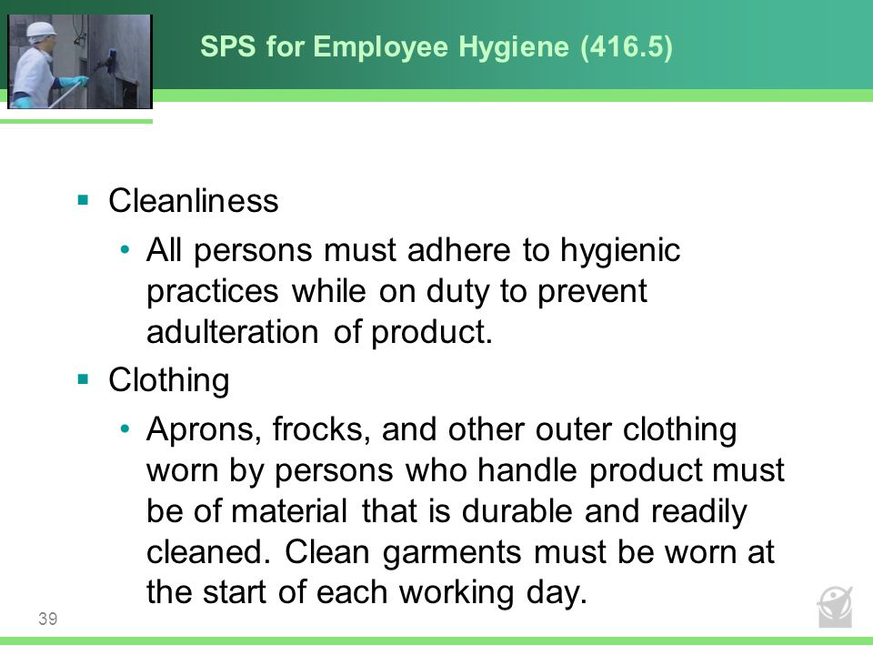 SPS for Employee Hygiene (416.5)