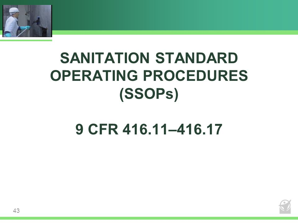 SANITATION STANDARD OPERATING PROCEDURES (SSOPs) 9 CFR 416.11–416.17