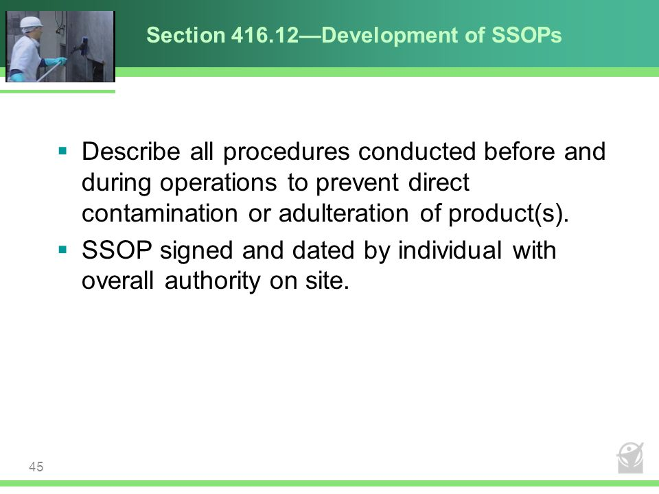 Section 416.12—Development of SSOPs