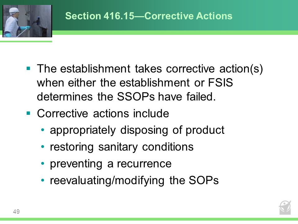 Section 416.15—Corrective Actions