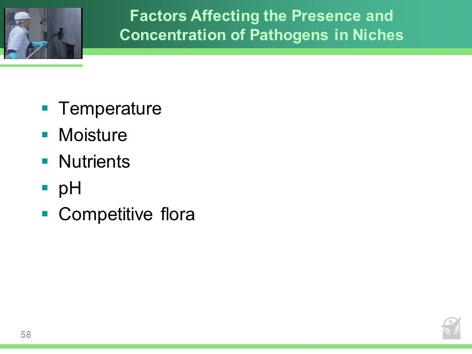 Temperature Moisture Nutrients pH Competitive flora