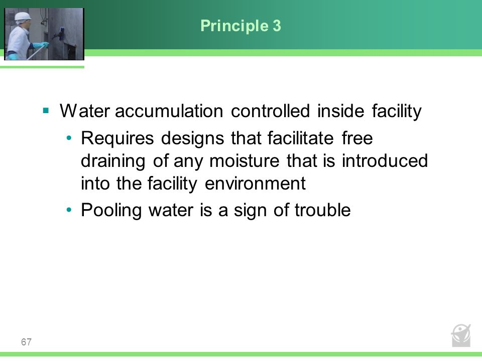 Water accumulation controlled inside facility