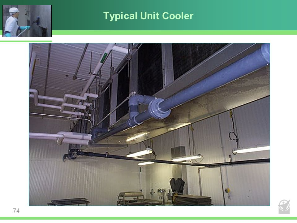 Typical Unit Cooler No conditioned make-up air. Limited humidity control capability. More surface area to clean in your process room.