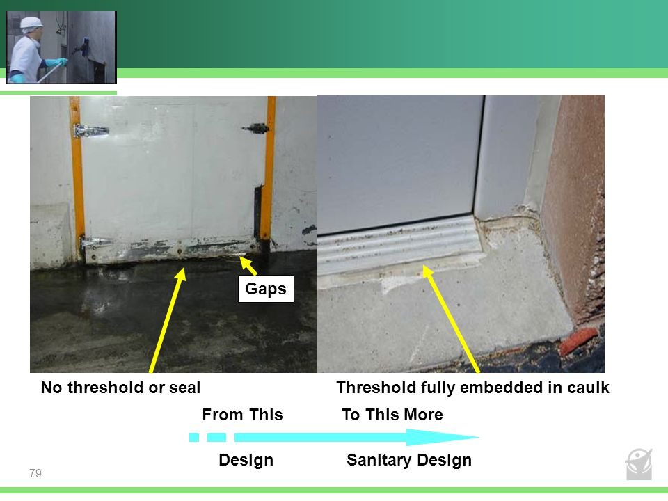 Gaps Caulking is not a lifetime investment. Use it only where required; then, maintain it. No threshold or seal.