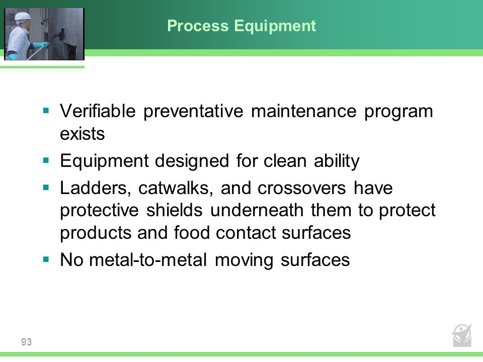 Verifiable preventative maintenance program exists