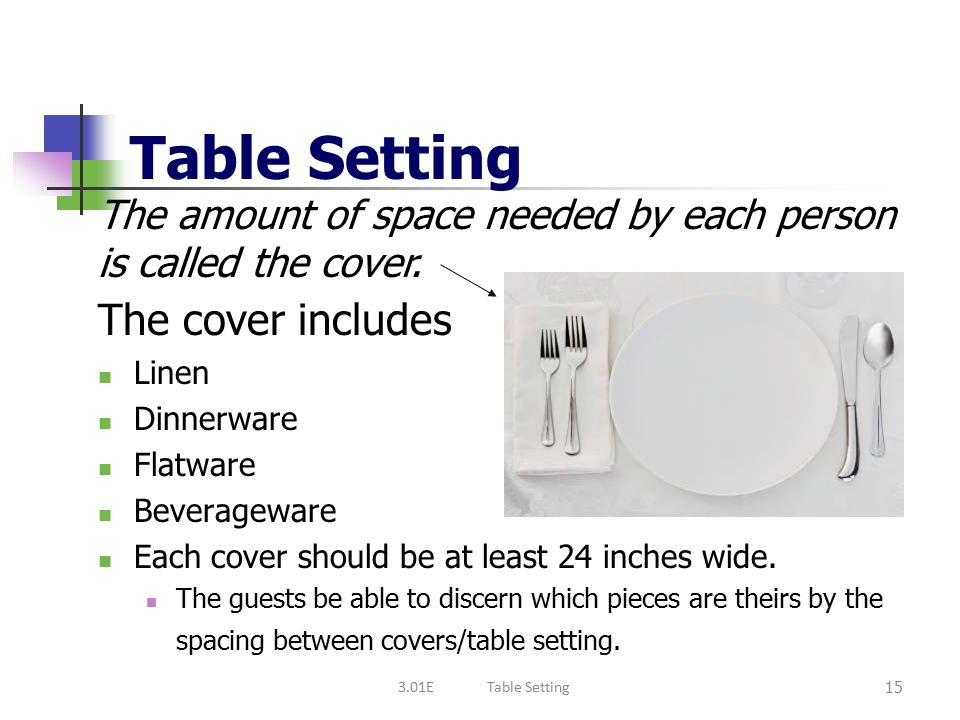 Table Setting The cover includes