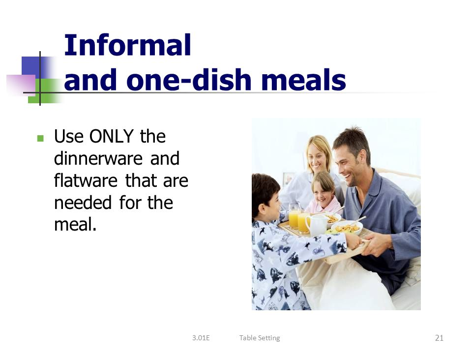 Informal and one-dish meals
