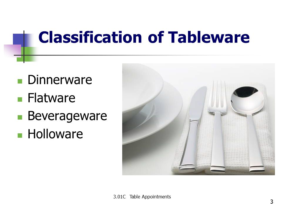 Classification of Tableware