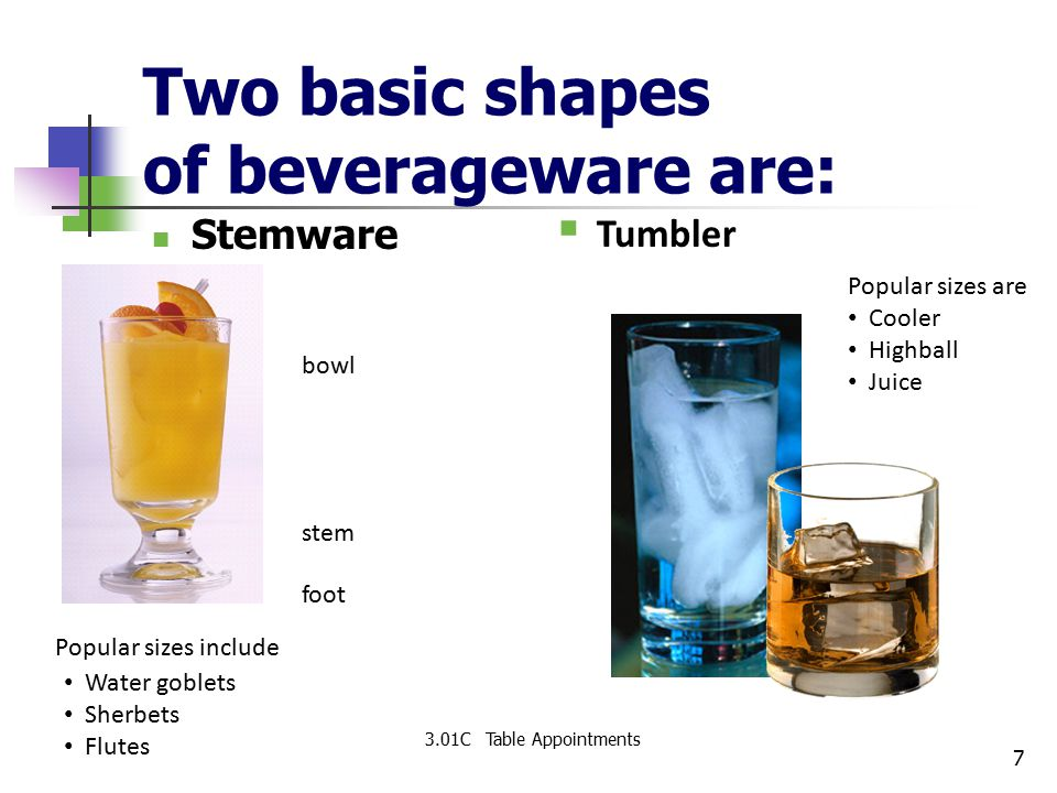 Two basic shapes of beverageware are: