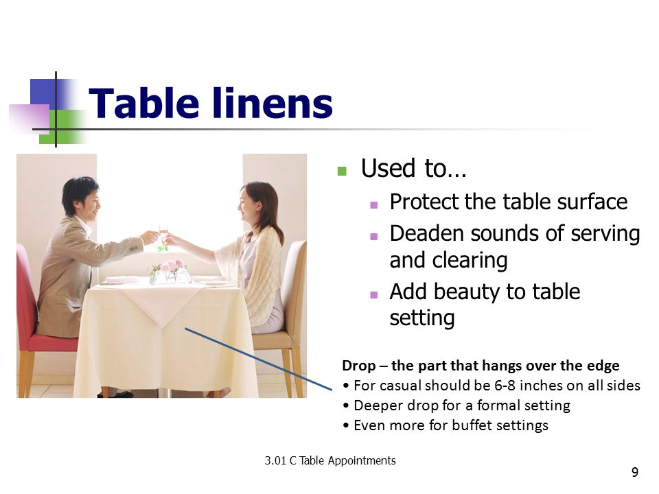 Table linens Used to… Protect the table surface