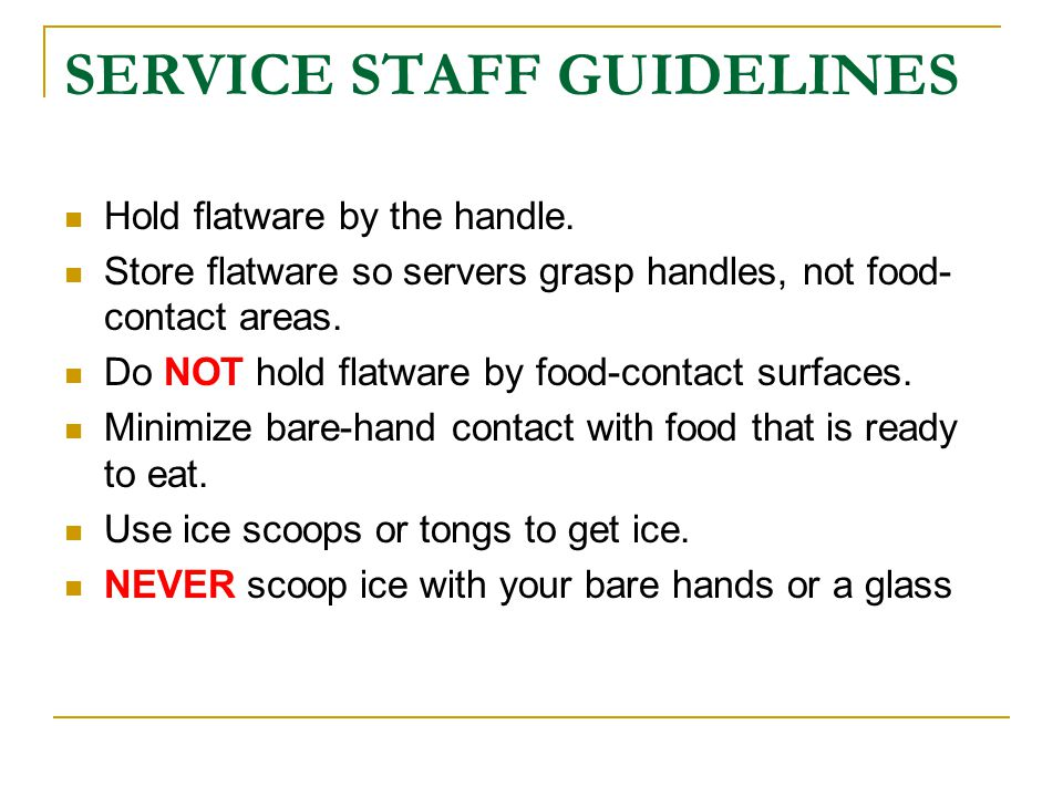 SERVICE STAFF GUIDELINES