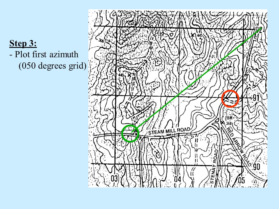 Step 3: Plot first azimuth (050 degrees grid)