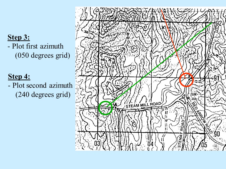 Step 3: Plot first azimuth (050 degrees grid) Step 4: Plot second azimuth (240 degrees grid)