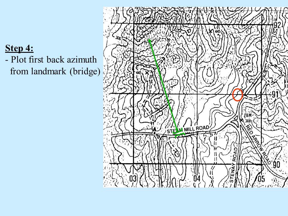 Step 4: Plot first back azimuth from landmark (bridge)