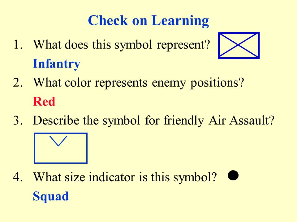Check on Learning What does this symbol represent Infantry