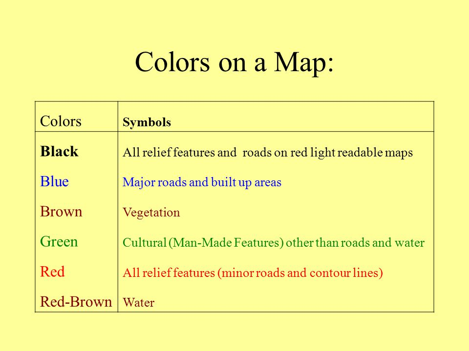 Colors on a Map: Colors Black Blue Brown Green Red Red-Brown Symbols