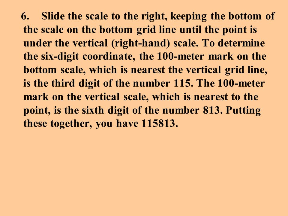 6. Slide the scale to the right, keeping the bottom of the scale on the bottom grid line until the point is under the vertical (right-hand) scale.