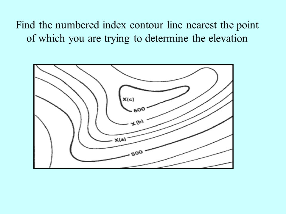 Find the numbered index contour line nearest the point of which you are trying to determine the elevation