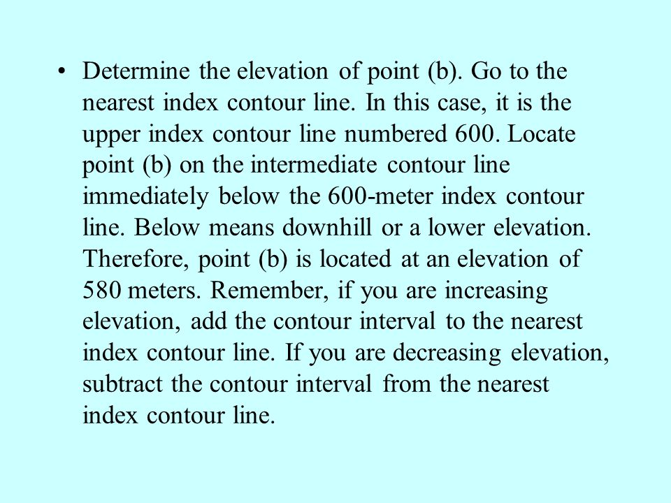 Determine the elevation of point (b)